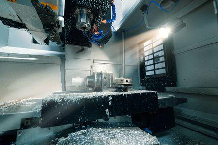 Working area of modern CNC milling machine Stockfoto