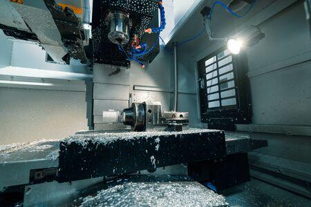 Modern lathe metalworking CNC machine.