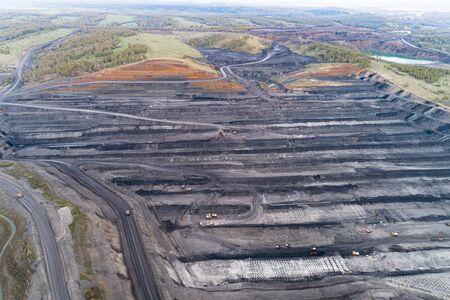 Coal mine, aerial view. 版權商用圖片 - 129114402