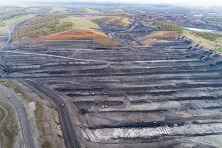Mine de charbon, vue aérienne. Banque d'images