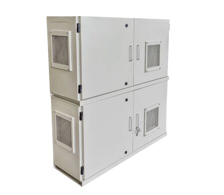 Rectangular electric cabinet isolated on a white background.