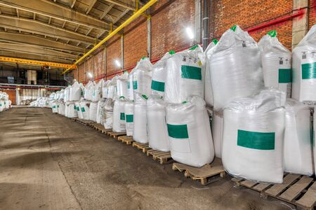 Large industrial warehouse of chemicals. Stock Photo
