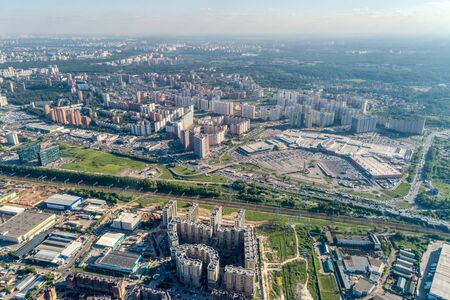 Big city, aerial view. High-rise residential construction, very high building density. 写真素材