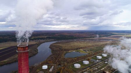 State District Power Station aerial view. Steam comes from a high factory chimney.
