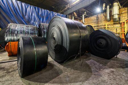 Rubber conveyor belt factory. Finished goods warehouse