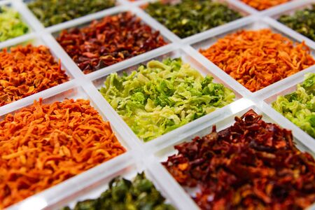Sublimated thinly sliced vegetables. Dried greens, carrots, beets, cabbage. The modern method of preserving vegetable crops.
