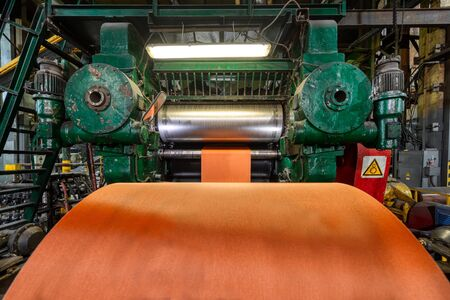 Factory for the production of conveyor belts. Stock Photo