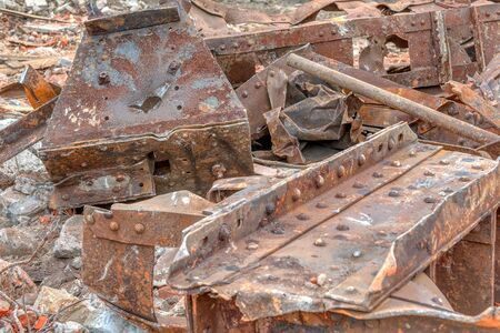 Destroyed rusty metal structures.