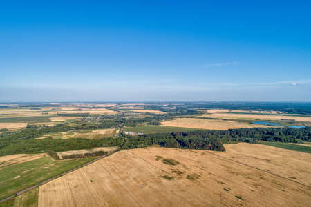 Agricultural fields, countryside. A shot from above. Banco de Imagens