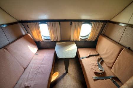 Interior of an old passenger plane. Imagens