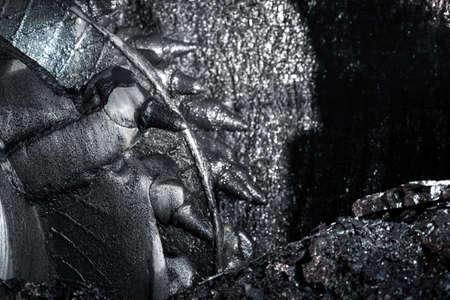 Shearer drill head in a coal mine