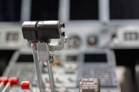 Engine thrust levers. Modern jet aircraft, cockpit 版權商用圖片