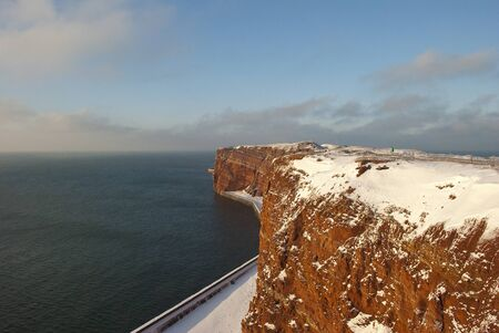 helgoland: The cliffs of Helgoland in winter Stock Photo