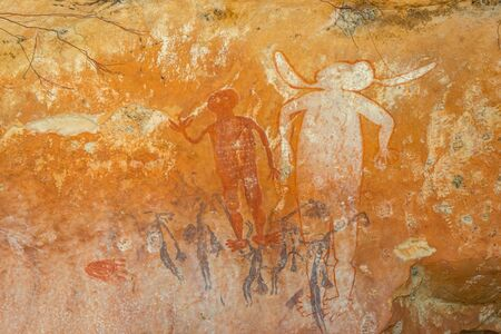 myst: aboriginal rock art western australia Stock Photo