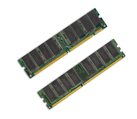 computer memory: Two computer memory chips on white ground