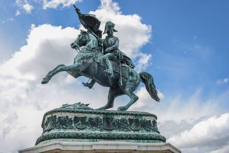 Statue of the Archduke Charles of Austria, Duke of Teschen on the Heldenplatz, Vienna, Austria Editorial