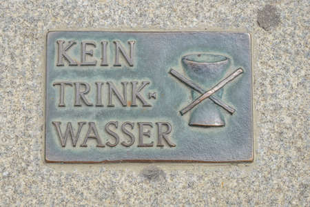 drinking water sign: no drinking water sign on a fountain at vienna, austria, europe Editorial