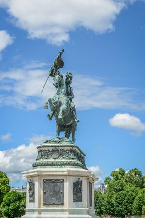 Statue of the Archduke Charles of Austria, Duke of Teschen on the Heldenplatz, Vienna, Austria Editorial