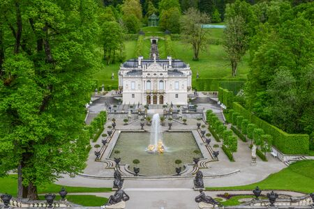 LINDERHOF, GERMANY  -  JUNE 01, 2016: Linderhof Palace is a Schloss in Germany, in southwest Bavaria near Ettal Abbey. It is the smallest of the three palaces built by King Ludwig II of Bavaria