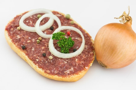 Roll with minced pork, onion and pepper