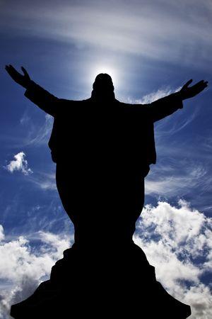 jesus clouds: Jesus silhouette sky background