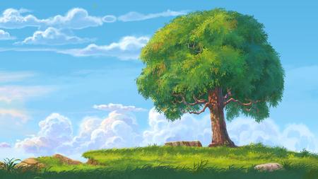 big tree digital painting
