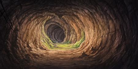 イラストの洞窟トンネル