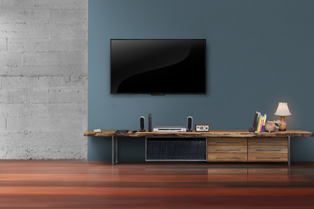 interior decoration accessories: Living room led tvs on blue wall with wooden table media furniture modern loft style