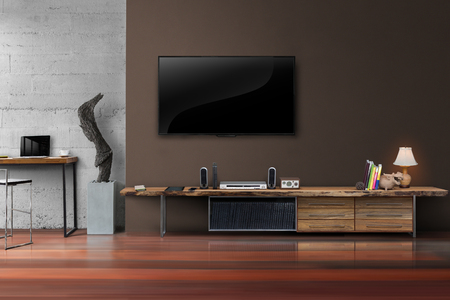 Living room led tv on concrete wall with wooden table media furniture modern loft style Reklamní fotografie - 62114344