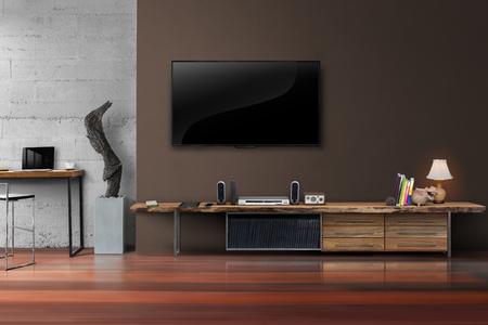 equipo de sonido: Salón LED TV en la pared de hormigón con muebles de madera de estilo de medios mesa moderno loft Foto de archivo