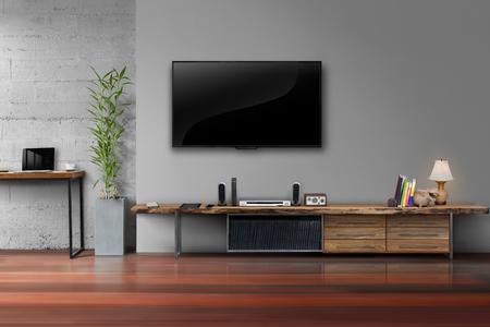 equipo de sonido: TV LED en el color gris de la pared con mesa de madera y una planta en estilo moderno loft salón olla