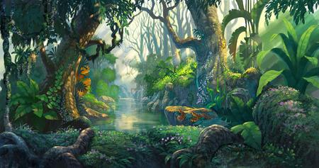 ファンタジーの森の背景イラスト絵画