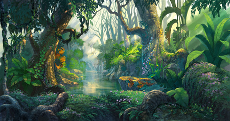 country landscape: fantasy forest background illustration painting
