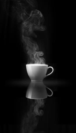 sleepiness: Smoke above white coffee cup on black mirror