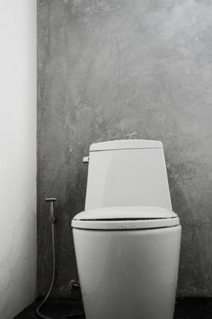 White toilet bowl concrete wall
