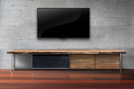 interior decoration accessories: Led tv on concrete wall with wooden table living room modern loft style