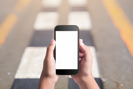 Walking and use smart phone blank screen Stock Photo