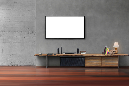 Living room led blank screen tv on concrete wall with wooden table media furniture modern loft style