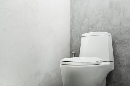 White toilet bowl concrete wall in bathroom