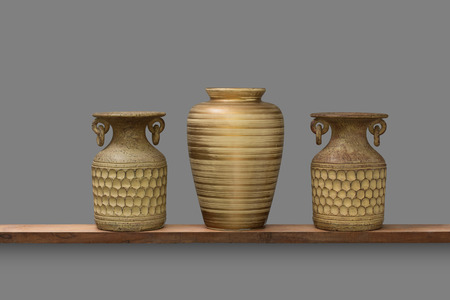 pottery clay and ceramic vase decorate interior isolated on gray background