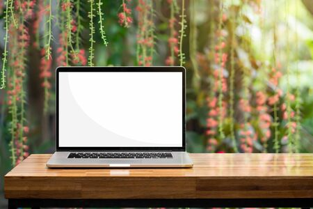 Laptop blank screen on wooden table red flowers green garden background