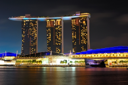 SINGAPORE - JANUARY 05: Closeup Marina bay Sands at night on January 05, 2012. Marina Bay Sands is an integrated resort fronting Marina Bay in Singapore. Stock Photo - 14242370