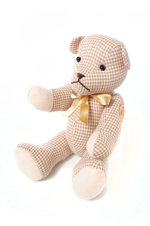 dog doll made of fabric isolate on white