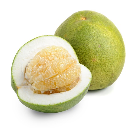 Green pomelo fruit on white Backgorund