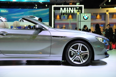 NONTHABURI, THAILAND - MARCH 26: The new BMW 640i Convertible in the 32nd Bangkok International Motor Show on March 26, 2011 in Nonthaburi, Thailand.