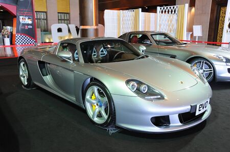 carrera: NONTHABURI, THAILAND - MAY 21: The Porsche Carrera GT in Supercar & Import car Show on May 21, 2011 in Nonthaburi, Thailand.  Editorial