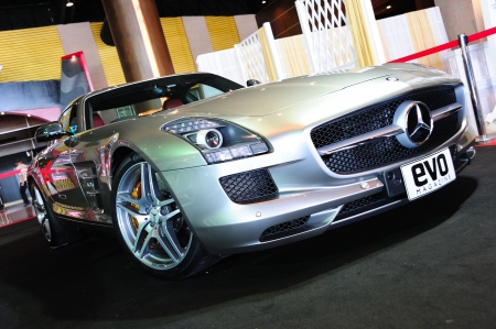 NONTHABURI, THAILAND - MAY 21: The Mercedes Benz SLS AMG in Supercar & Import car Show on May 21, 2011 in Nonthaburi, Thailand.