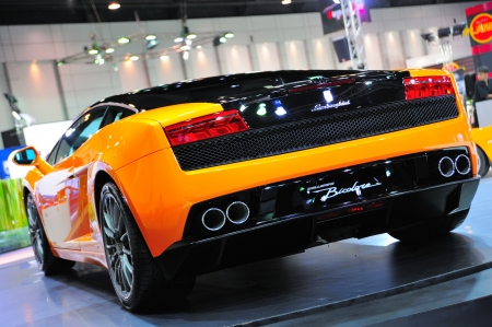 NONTHABURI, THAILAND - MAY 21: Back of Lamborghini Gallardo Bicolore in Supercar & Import car Show on May 21, 2011 in Nonthaburi, Thailand.