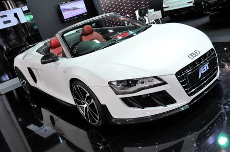 NONTHABURI, THAILAND - MAY 21  The ABT Audi R8 V10 in Supercar   Import car Show on May 21, 2011 in Nonthaburi, Thailand