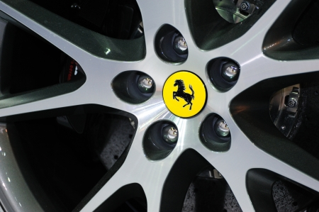 NONTHABURI, THAILAND - MAY 21  The Ferrari California wheel in Supercar   Import car Show on May 21, 2011 in Nonthaburi, Thailand